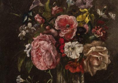 3- Paul Huet (1803-1869), Bouquet de fleurs dans un verre, circa 1854